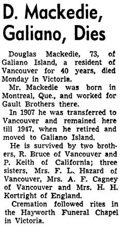 Vancouver Sun, November 1, 1952, page 50, column 8.