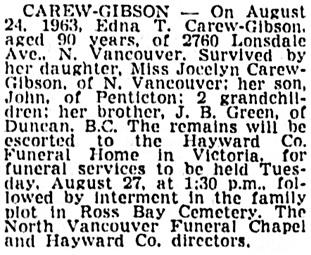 Vancouver Sun, August 26, 1963, page 25, column 2.