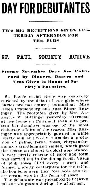 The Saint Paul Globe (Saint Paul, Minnesota), November 7, 1901, page 6, column 3.