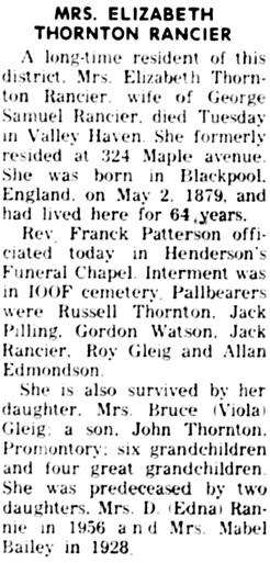 The Chilliwack Progress, May 12, 1961, page 4, column 7.