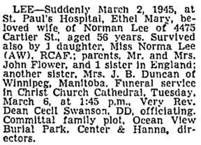 Vancouver Sun, March 3, 1945, page 19, column 3.