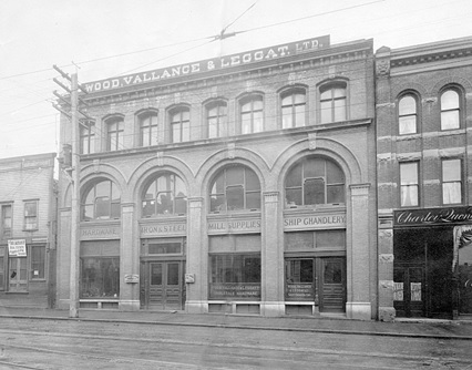 Exterior of Wood, Vallance and Leggat Ltd.,23-29 West Hastings Street, about 1908, Vancouver City Archives, Bu P500.1; http://searcharchives.vancouver.ca/exterior-of-wood-vallance-and-leggat-ltd-23-29-west-hastings-street.