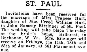The Minneapolis Journal, November 25, 1906, page 56, column 4.