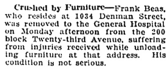 Vancouver Daily World, December 12, 1916, page 20, column 4.