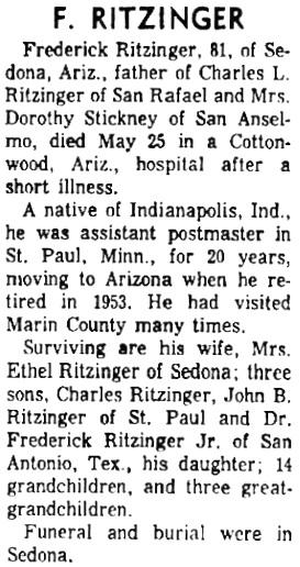 Daily Independent Journal (San Rafael, California), June 2, 1965, page 4, column 4.