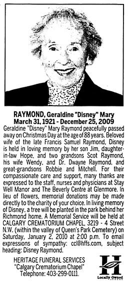 Calgary Herald, December 30, 2009, page 20, column 5.