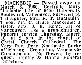 Vancouver Sun, March 9, 1960, page 38, column 4.