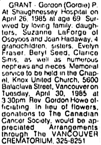 Vancouver Sun, April 29, 1985, page 35, column 6.