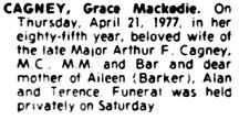 The Gazette (Montreal), April 26, 1977, page 36, column 6.