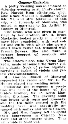 Vancouver Daily World, January 10, 1921, page 6, column 3,