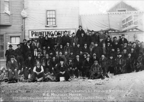 Winners of the First Municipal Election Held in Dawson, Y.T. February 6, 1902; Vancouver City Archives; Item: Out P505; https://searcharchives.vancouver.ca/winners-of-first-municipal-election-held-in-dawson-y-t-february-6th-1902-hg-macaulay-mayor-dr-h-g-norquay-jas-f-macdonald-geo-murphy-p-vachon-thomas-adair-and-t-g-wilson-aldermen.