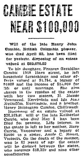 Vancouver Sun, June 13, 1928, page 11; https://news.google.com/newspapers?id=dTlmAAAAIBAJ&sjid=qIgNAAAAIBAJ&pg=924%2C5483786 [Link leads to top of column 2; article is halfway down column 2.]