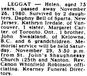 Vancouver Sun, November 28, 1980, page 42, column 5.