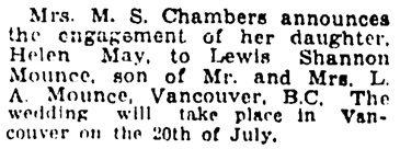 Winnipeg Tribune, June 20, 1931, page 12, column 8.