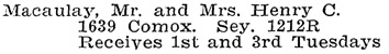 Vancouver Social Register and Club Directory, 1914, page 39.