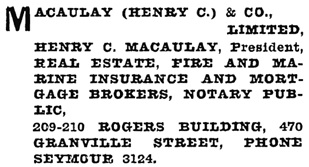 Henderson's Greater Vancouver City Directory, 1917, page 613.