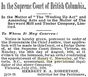 Victoria Daily Colonist, July 28, 1896, page 8, column 6; http://archive.org/stream/dailycolonist18960728uvic/18960728#page/n7/mode/1up.