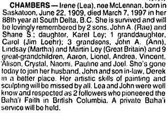 Vancouver Sun, March 11, 1997, page B7 [image 19], column 1.