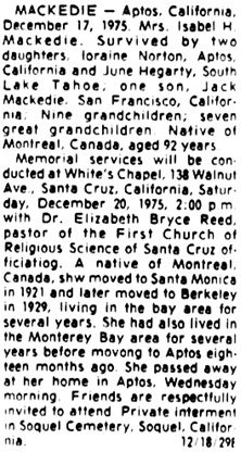 Sentinel (Santa Cruz, California), December 18, 1975, page 30, column 8.