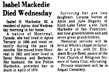 Santa Cruz Sentinel (Santa Cruz, California), December 18, 1975, page 30, column 7.