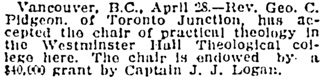 Manitoba Morning Free Press, April 29, 1909, page 1, column 4.