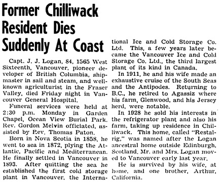 The Chilliwack Progress, December 16, 1942, page 10, column 5.