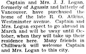 The Chilliwack Progress, February 27, 1930, page 2, column 4.