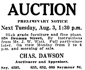 Vancouver Daily World, July 30, 1915, page 14, column 6.