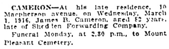 Toronto Globe, March 6, 1916, page 8, column 7.