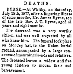 Whitby Chronicle (Whitby, Ontario), August 2, 1877, page 3, column 1; http://vitacollections.ca/whitbynews/2450103/page/4.