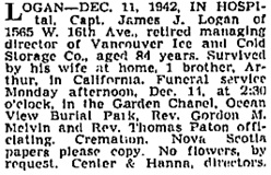 Vancouver Province, December 12, 1942, page 21; Vancouver Sun, December 12, 1942, page 18, column 2.