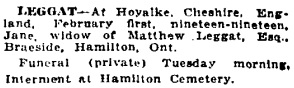 Toronto Globe, May 26, 1919; page 8, column 8.