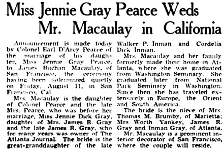 The Atlanta Constitution (Atlanta, Georgia), August 13, 1939, page 42, columns 1-2.