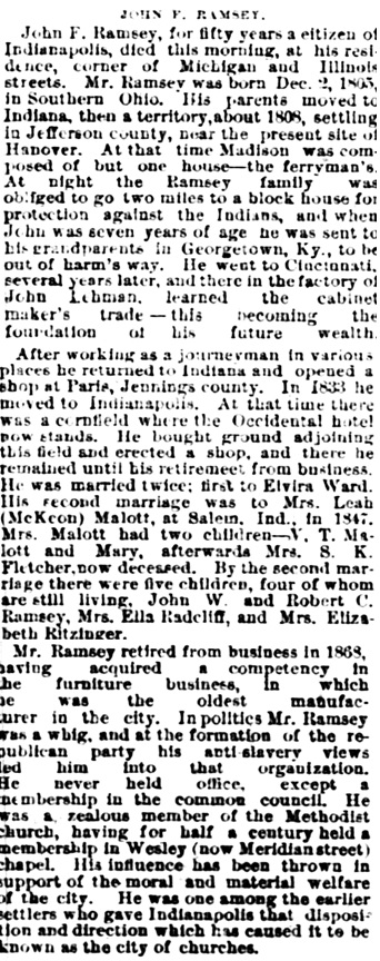 The Indianapolis News (Indianapolis, Indiana), December 19, 1883, page 1, column 4.