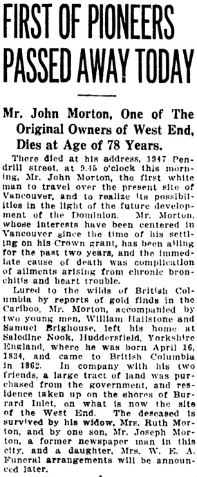 Vancouver Daily World, April 18, 1912, page 23, column 3.