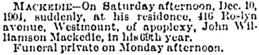 Montreal Gazette, December 12, 1904, page 3, column 6; https://news.google.com/newspapers?id=y3YuAAAAIBAJ&sjid=5IQFAAAAIBAJ&pg=4041%2C5619265.