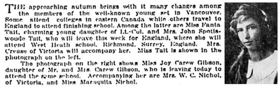 Vancouver Sun, August 26, 1923, page 9, columns 4-5.