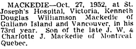Vancouver Sun, October 28, 1952, page 21, column 4.