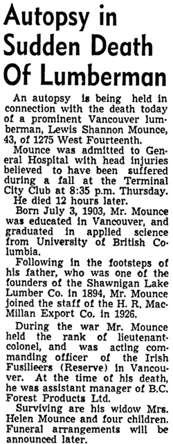 Vancouver Sun, April 11, 1947, page 10, column 3.
