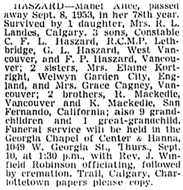 Vancouver Sun, September 9, 1953, page 33, column 4.