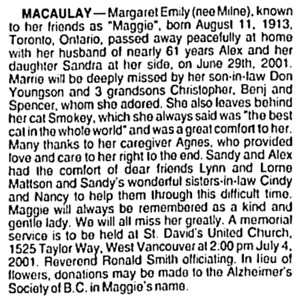 Vancouver Sun, July 4, 2001, page 16, column 3.