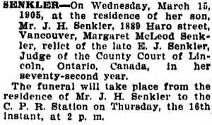 Vancouver Province, March 15, 1905, page 3, column 2.