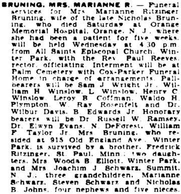 Orlando Evening Star (Orlando, Florida), November 11, 1952, page 3, column 4.