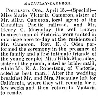 Victoria Daily Colonist, April 16, 1896, page 8, column 5.
