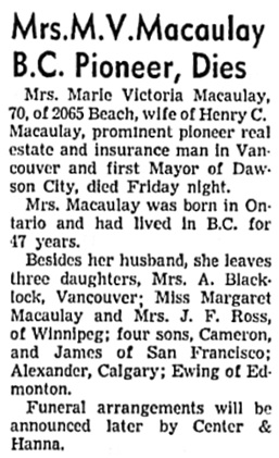Vancouver Sun, January 8, 1944, page 5, column 6.