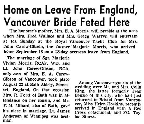 Vancouver Sun, September 30, 1944, page 11, columns 6-7.