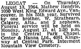 Vancouver Sun, August 15, 1964, page 32, column 3.