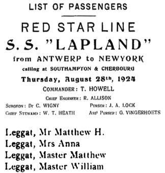 """New York Book Indexes to Passenger Lists, 1906-1942,"" database with images, FamilySearch (https://familysearch.org/ark:/61903/1:1:Q2CQ-CXS2 : 17 March 2018), Matthew H Leggat, 1906-1942; citing Immigration, New York, United States, citing ship , New York Passenger Lists, 1906-1942 NARA microfilm publication T612. Records of the Immigration and Naturalization Service, RG 85 (Washington, D.C.: National Archives and Records Administration, n.d.), roll Roll 397 Holland-American, Red Star, Royal Mail, 1924 Jun; FHL microfilm."