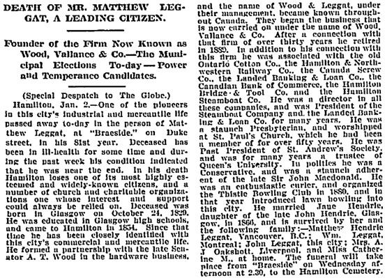 Toronto Globe, January 3, 1910, page 2, column 5.