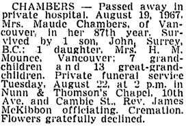Vancouver Sun, August 21, 1967, page 27, column 2.